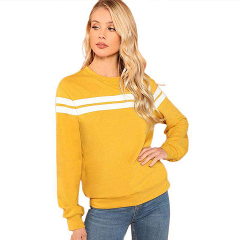 Mustard Striped Long Sleeve Tunic Sweatshirts Pullover
