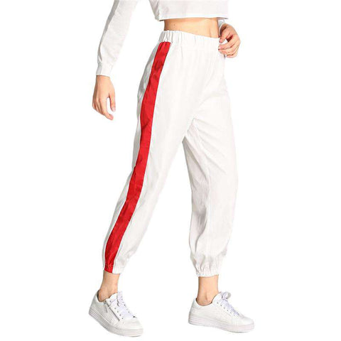 White Contrast Tape Side Elastic Waist Sweatpants Trousers