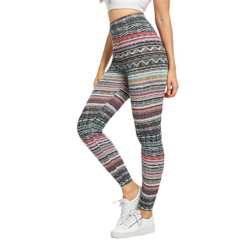 High Waist Tribal Print Striped Geometric Legging