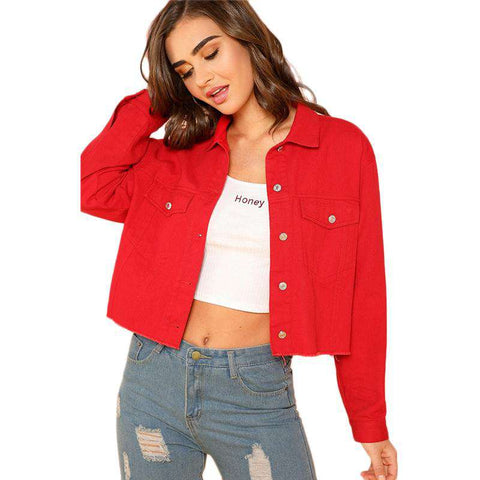 Red Pocket Front Button Up Long Sleeve Jacket