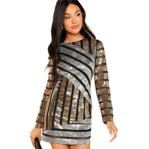 Cut and Sew Textured Long Sleeve Mini Sequin Dress