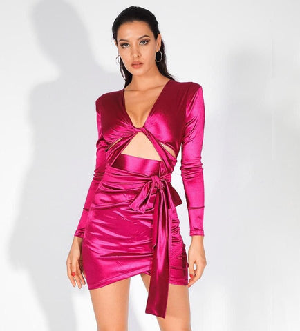 Deep V-Neck Rose Red Cut Out Shoulder Pad Slim-Fit Party Dress