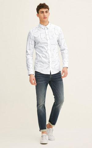 Jack&Jones Lycra elastic cotton and denim Comfortable Shirt
