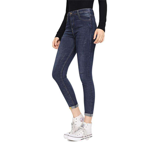 Blue Rolled Hem Zipper Fly Mid Waist Tapered Carrot Skinny Jeans