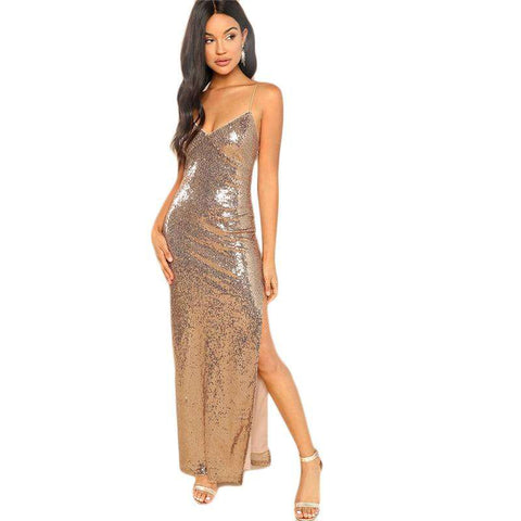 Gold Backless Split Side Sequin Maxi Dress
