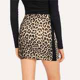 Leopard Print Black Side Seam Skinny Mid Waist Pencil Skirt
