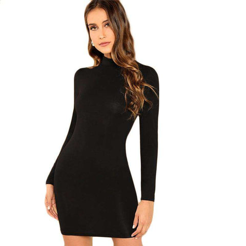 Black Minimalist Stand Collar Long Sleeve Skinny Dress
