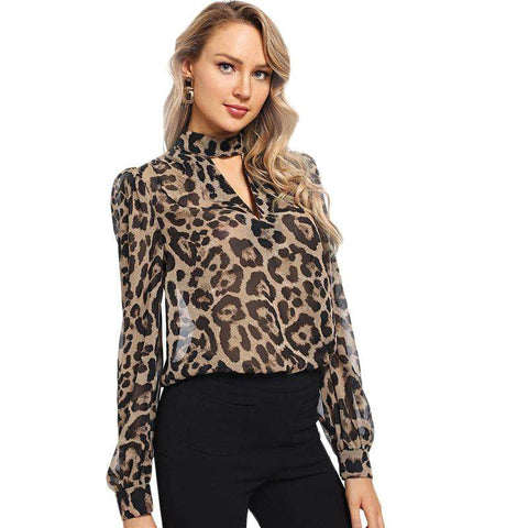 Multicolour Choker Neck Leopard Print Cut Out Long Sleeve Blouse Top