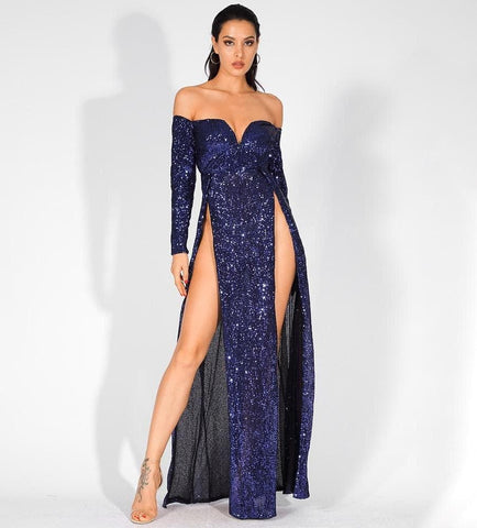 Deep V-Neck Cut Out Sequins Long-Sleeved Maxi Dress Gown
