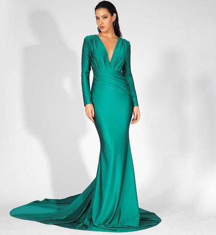 Green Deep V-Neck Slim Fit Elastic Fabric Trailing Dress