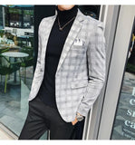 Stylish Pattern Check Slim Fit Plaid Blazer With Flower Print