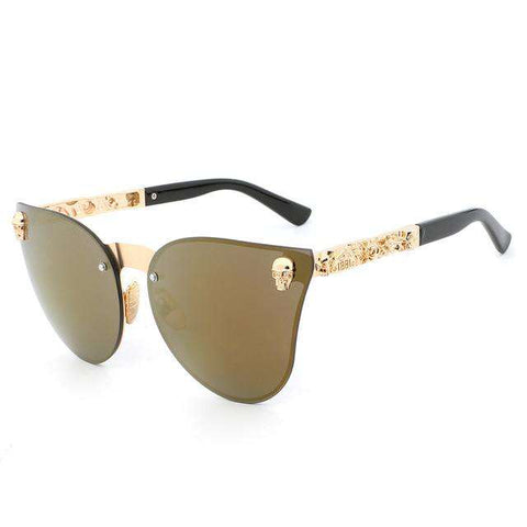Mirror Vintage Metal Skull Frame UV400 Fashion Sunglasses