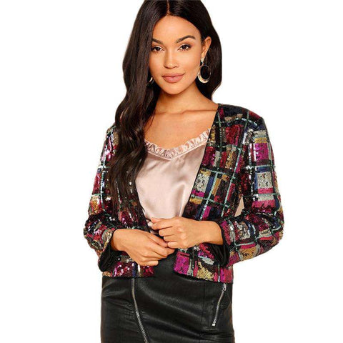Multicolour Sequin Long Sleeve Jacket