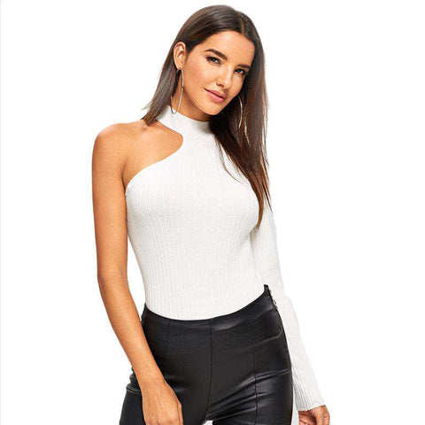White Asymmetrical Sleeve Stand Collar Slim Fitted Top