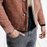 Thick Warm Faux Shearling-lined Trucker Corduroy Jacket