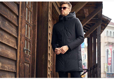 Hooded Long Down Black Parka Trench Coat