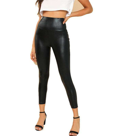 Crop Black Coated Polyester Stretchy Leggings Pants Trousers
