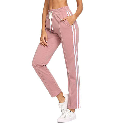 Pink Striped Side Drawstring Waist Straight Leg Sporty Sweatpants Tracks