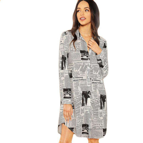White Newspaper Letter Print Button Straight Stand Collar Long Sleeve Shirt Dress