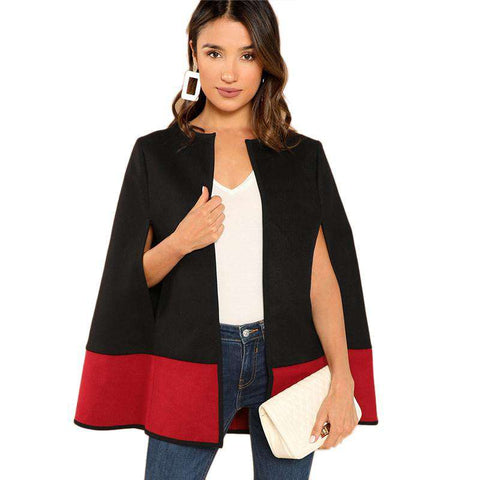 Black Round Neck Two Tone Open Front Sleeve Cape Coat