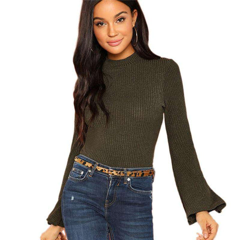 Green Ribbed Knit Mock Long Sleeve Stand Collar Top