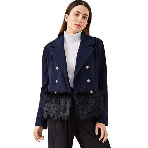 Navy Trim Double Breasted Faux Fur Coat