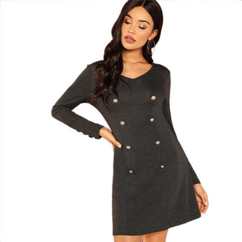 Double Breasted V Neck Knit  A-Line Long Sleeve Mini Dress