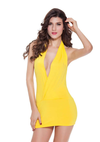 Yellow Deep Halter V Asymmetrical Neck Off Shoulder Dress