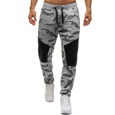 Grey Camouflage Carrot Trousers Sweatpants