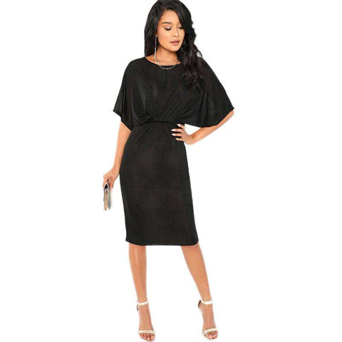 Twist Front Split Dolman Half Sleeve Black Dress