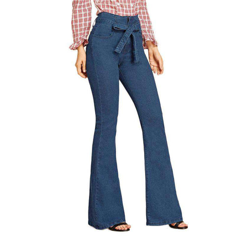 Blue Tie Waist Flare Leg Belted Stretchy High Waist Jeans