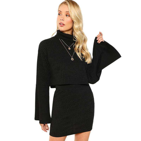 Black Two piece High Neck Ribbed Knit Long Sleeve Top & Skirt