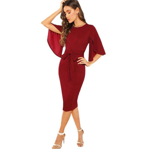 Burgundy Flutter Sleeve Self Belted Pencil Dress
