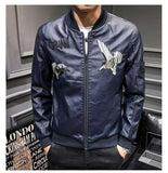 Embroidery Mandarin Stand Collar Bomber Jacket