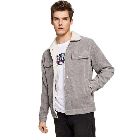 Single Breasted Grey Button Up Long Sleeve Corduroy Jacket