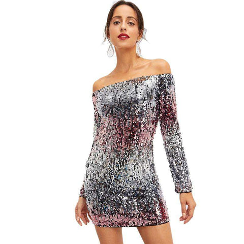 Silver Off Shoulder Ombre Sequin Long Sleeve Slim Dress