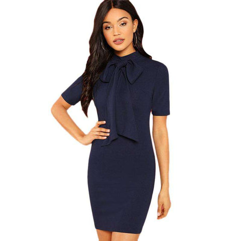 Navy Tie Neck Fall Bow Short Sleeve Dress