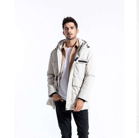 Slim Fit Hooded Parka Long Jacket