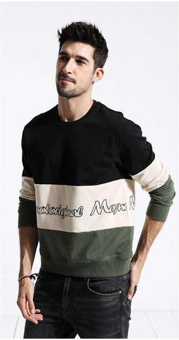 Letter Print Tricolour Cotton O-neck Pullovers Sweatshirt