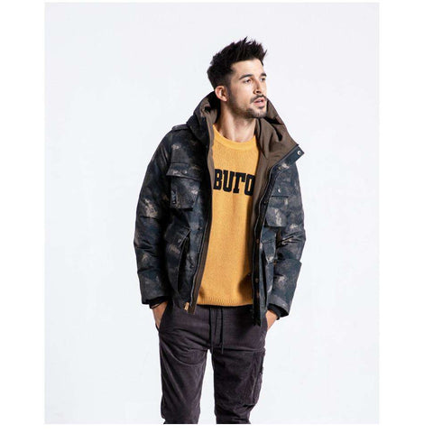 Camouflage 90% White Duck Down Hooded Puffer Parka Jackets