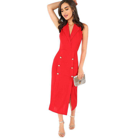 Red Sleeveless Notched Split Shell Long Dress