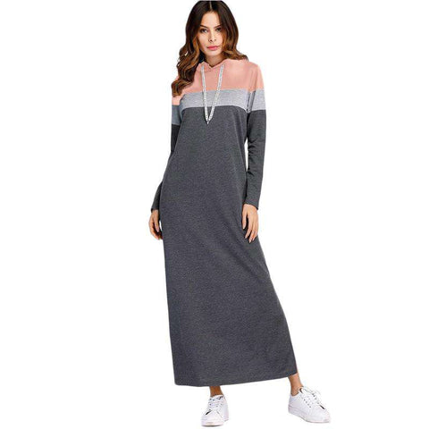 Grey Split Side Hooded Long Sleeve Straight Maxi Dress
