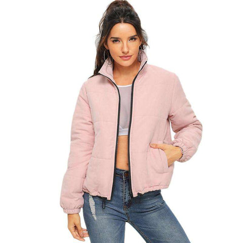 Pink Pocket Zip Front High Neck Puffer Jacket