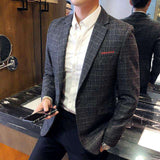 Single Breasted Slim Fit One Button Plaid Blazer