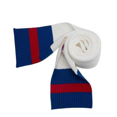 Knitted Red And Blue Long Soft Scarf