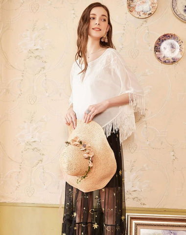 Pearl White  Embroidery Neckline Tassel Hem Chiffon Loose Blouse Top