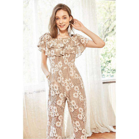 Vintage Lace Floral Ruffled Slash Neck High Waist Ankle-Length Wide Leg Strap Jumpsuit