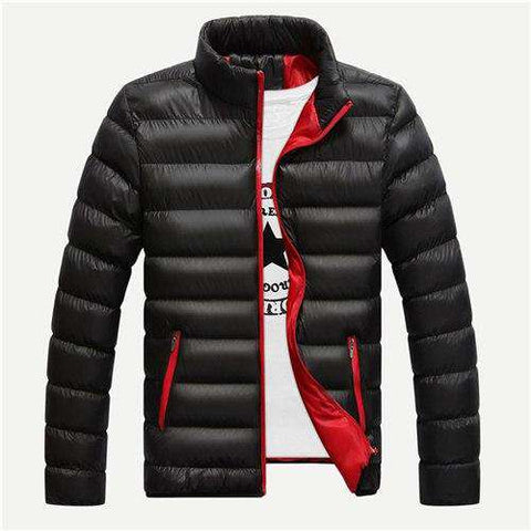 Black Stand Neck Padded Jacket