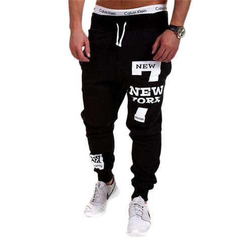 Black Letter Print Long Drawstring Sweatpants