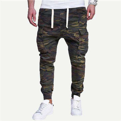 Pocket Detail Camouflage Print Drawstring Waist Sweatpants